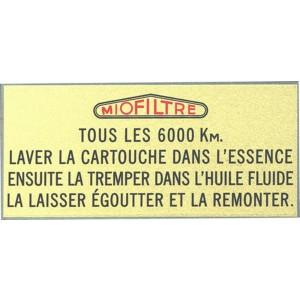 Autocollant Miofiltre pour filtre à air Traction 11cv  Livraison offerte en France continentale