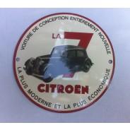 Plaque ronde émaillée Traction Citroën 7 cv
